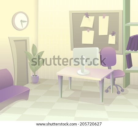 Background office vector. Modern office interior with designer desktop in flat design. Modern business workspace in the office with pastel color cartoon - stock vector