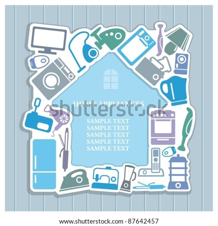 Background on home appliances theme - stock vector