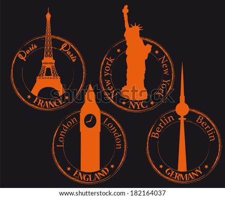Background orange France, Germany, England, NYC - stock vector