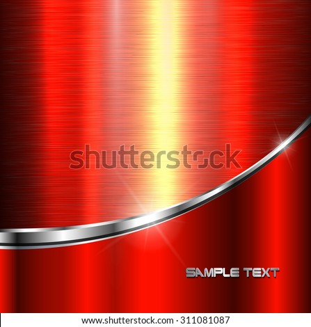 Background red metal texture, vector illustration. - stock vector