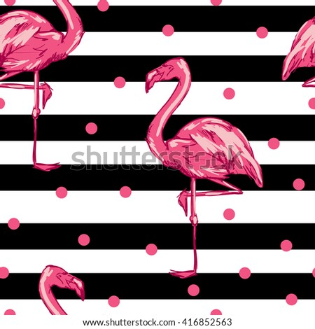 Background seamless vector flamingo, flamingo sketch vector illustration seamless. tropical theme, the idea of textiles, fashion trend, flamingo pattern - stock vector
