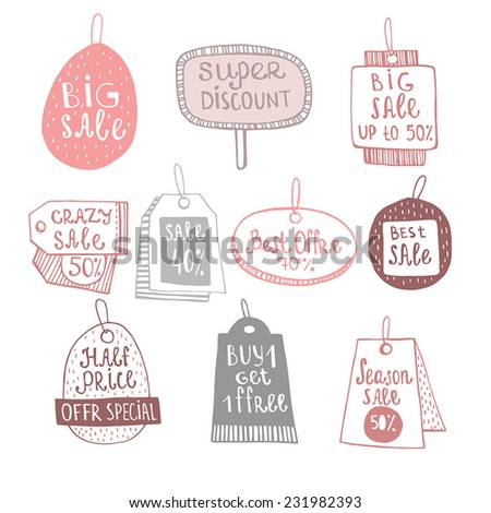Background seamless vector sale labels set.  - stock vector