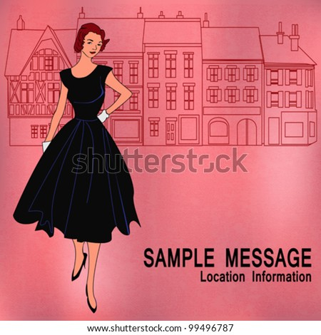 Background shopping illustration with a traditional high street and an elegant girl with a 1950's feel - stock vector