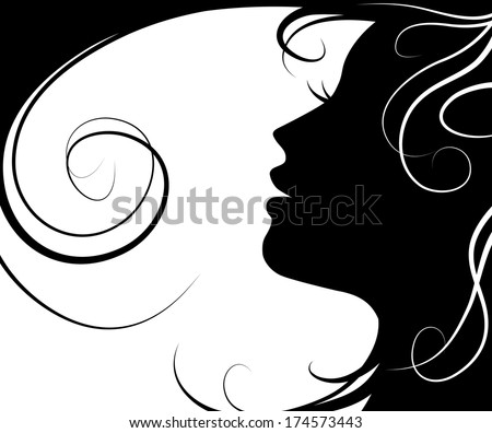 Background silhouette beautiful girl  vector and flying hair on white background - stock vector