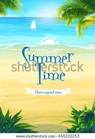 Background summer vacation with sun, sea, sky, palm trees, beach, boat. Creative design for print summer cards, invitations, brochures, posters. Vector illustration. - stock vector