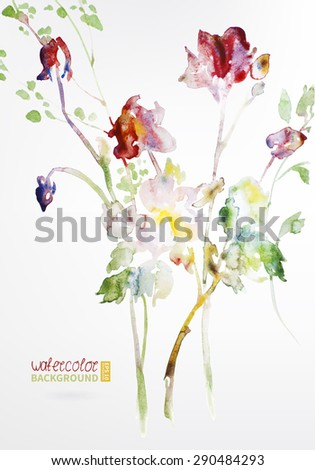 Background texture of watercolor. Postcard Rose. Picture used as a template. The picture can be used in your wedding business. - stock vector