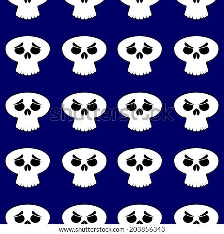 Background tile spooky Halloween cartoon skull  - stock vector