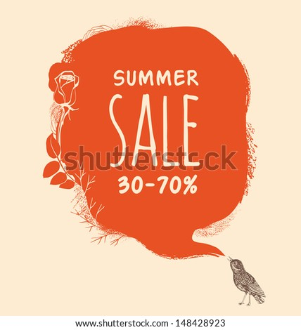 Background to the nightingale and blot. Summer sale - stock vector