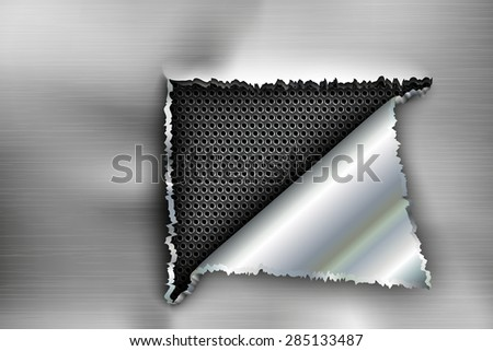 background torn metal, and cuts a hole in the steel - stock vector