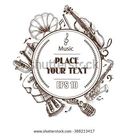 Background vector sketch musical instruments. The phonograph, saxophone, microphone, guitar, violin - stock vector