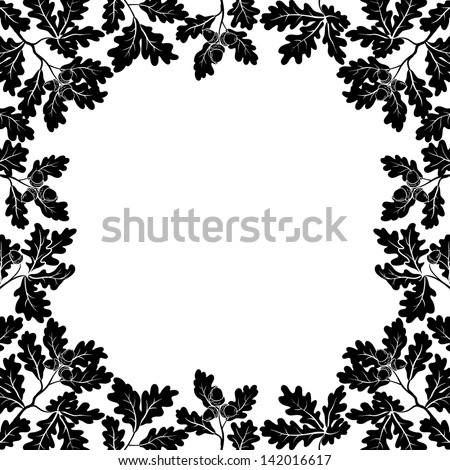 Background with a border of oak branches with leaves and acorns, black contours on white. Vector - stock vector