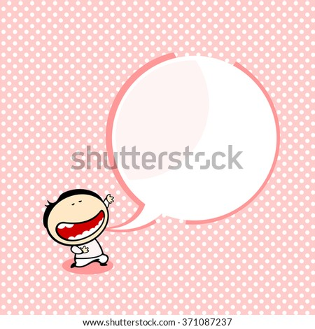 Background with a boy and a speech bubble window for your text - stock vector