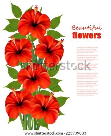 Background with a bunch of red flowers. Vector. - stock vector