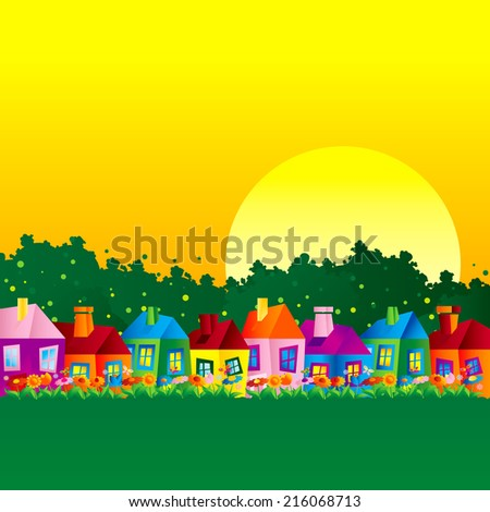 Background with a caricature of a village home in the spring, autumn and summer in the countryside - stock vector