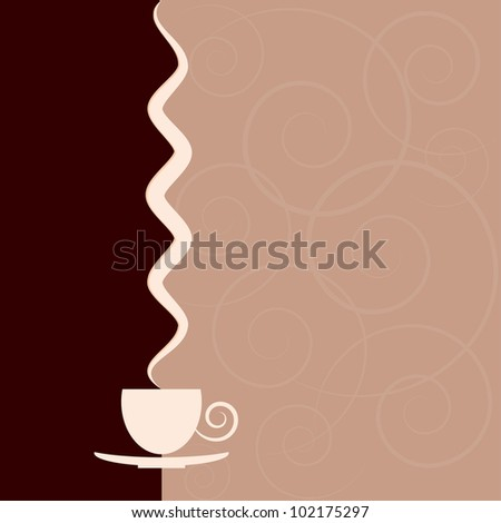 Background with a cup and smoke over it. - stock vector