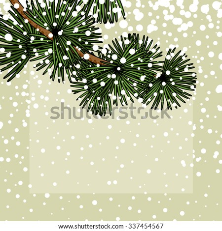 Background with a snowy branch of a fir - stock vector