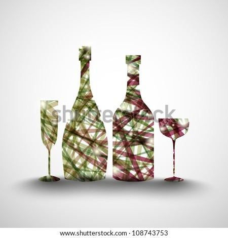 Background with abstract bottles and glasses - stock vector