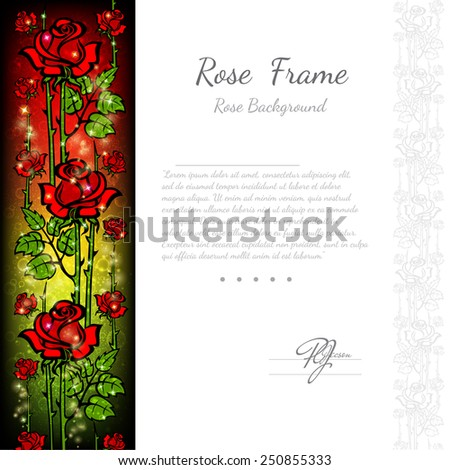 background with abstract floral rose pattern and white part for your text,card or greeting - stock vector