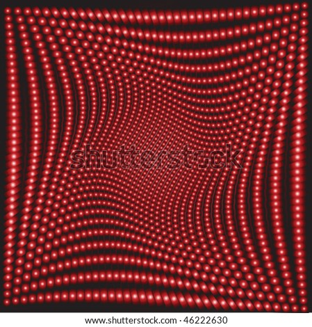 Background with abstract red balls, optical effect - stock vector