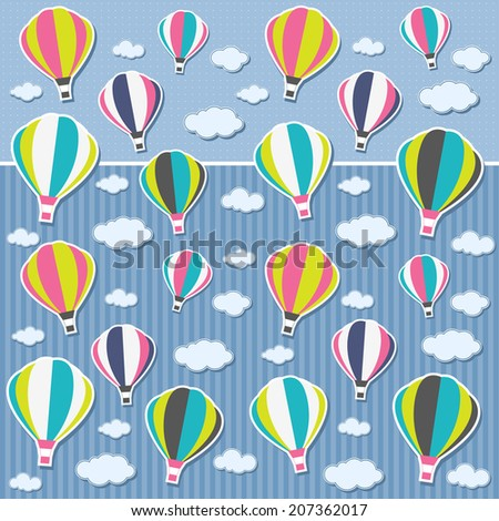 Background with air balloons and clouds - stock vector