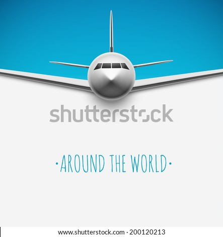 Background with airplane, around the world, eps 10 - stock vector