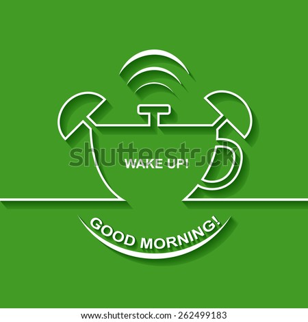 Background with alarm clock. The concept of early awakening. Morning wake up and deadline. Cup of coffee - stock vector