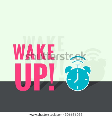 Background with alarm clock. The concept of early awakening. morning wake up and deadline. vector. flat design with shadow - stock vector
