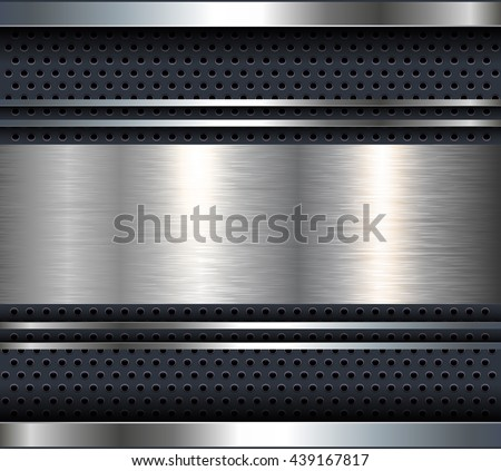 Background with aluminum metal plate bars, vector. - stock vector