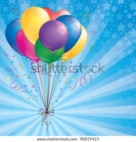 background with balloons bunch, confetti and ribbons - stock vector