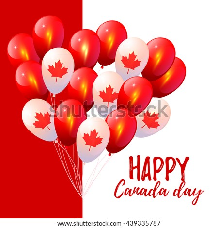 Background with balloons in national colors of the Canada - stock vector