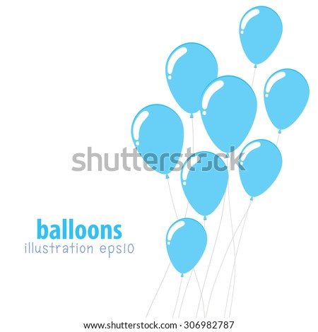 Background with balloons, Party balloons with space for text, Flat color - stock vector
