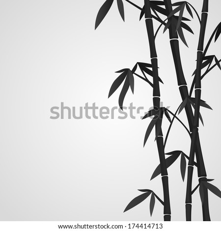 Background with bamboo stems. Ink sketch style - stock vector