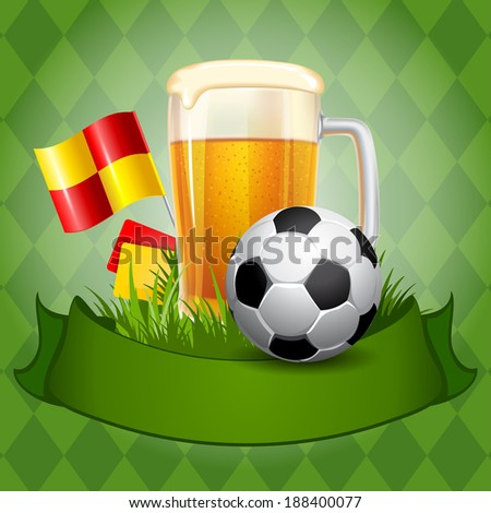 Background with Beer and Soccer Ball  - stock vector
