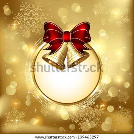 Background with bells, bow, stars and blurry light, illustration. - stock vector