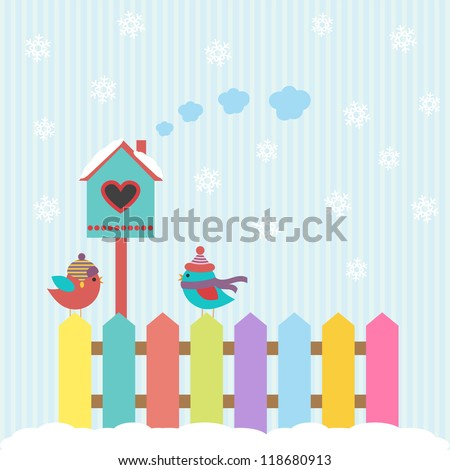 Background with birds and birdhouse winter - stock vector