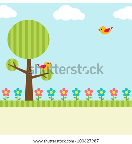 Background with birds, flowers and tree - stock vector