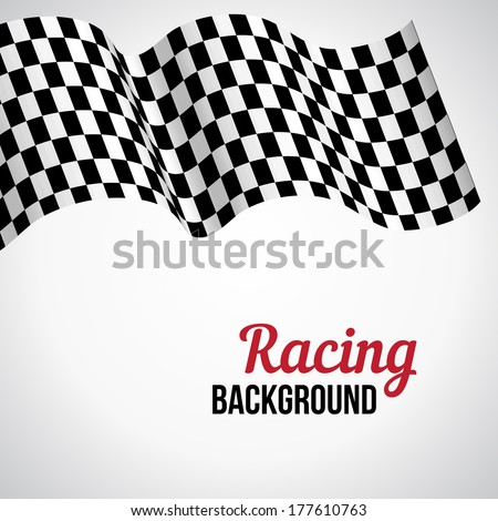 Background with black and white checkered racing flag. Vector illustration. - stock vector