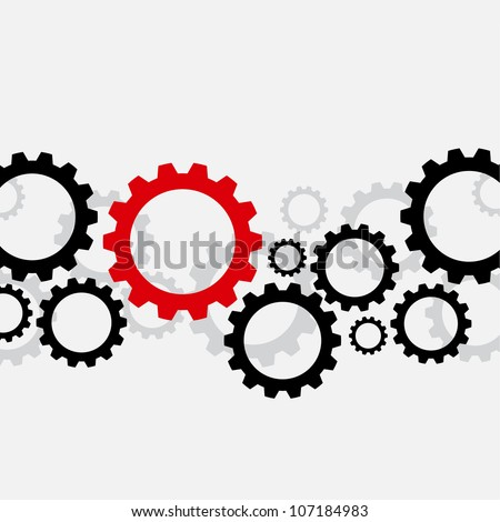 Background with black gears and one red - stock vector