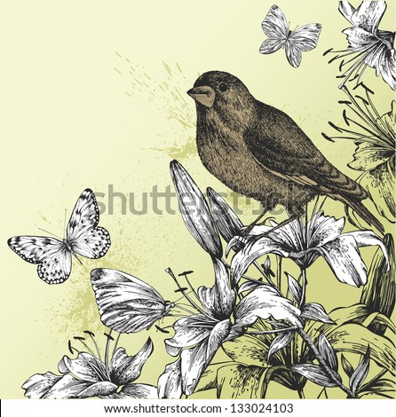 Background with blooming lilies, butterflies and bird sitting. Vector illustration. - stock vector