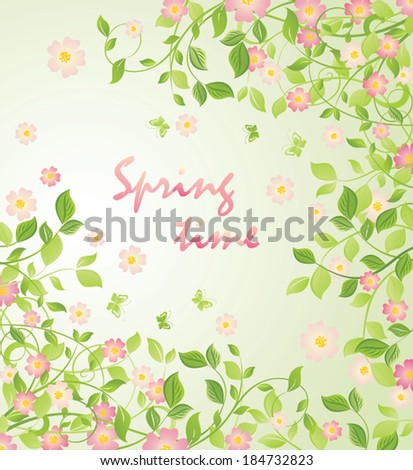 Background with blooming tree - stock vector
