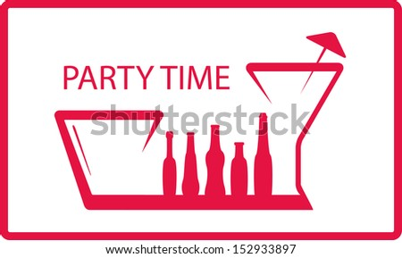 background with bottle, wineglass - party symbol  - stock vector