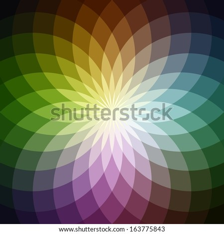 Background with bright  geometric flower. Flow  spectral light. - stock vector