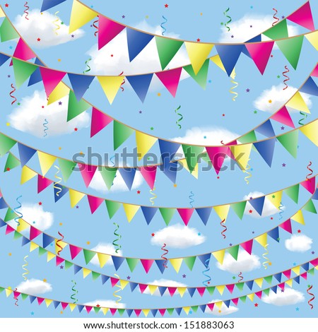 Triangle Decorative Flags Flag Decorations in Sky