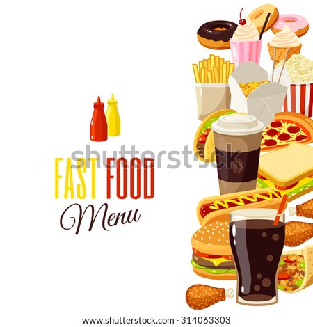 Background with cartoon food: hamburger, french fries, coffee, sandwich, popcorn, ice cream, pizza, taco. Vector illustration, isolated on transparent background, eps 10. - stock vector