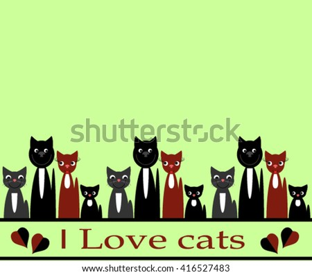 Background with cats. - stock vector