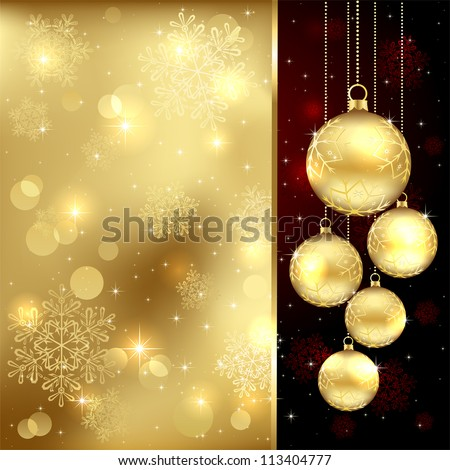 Background with Christmas baubles and snowflakes, illustration. - stock vector