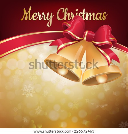 Background with Christmas bells, bow and snowflakes. EPS 10 vector file included - stock vector