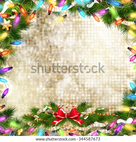 Background with Christmas bells, bow and tinsel. EPS 10 vector file included - stock vector
