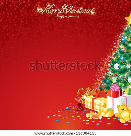 Background with Christmas Tree and Santa Claus Gifts - stock vector