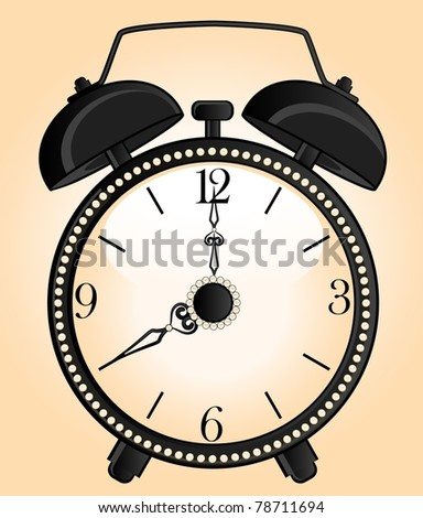 background with classic alarm clock - stock vector
